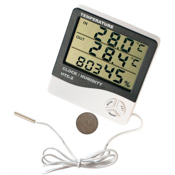 Digital multifunction device HTC-2, hygrometer, clock, alarm clock, calendar, outdoor temperature sensor